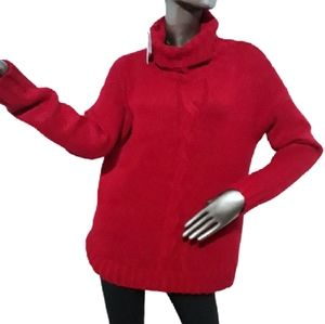 Lord & Taylor Cable Knit Red Turtleneck Sw…